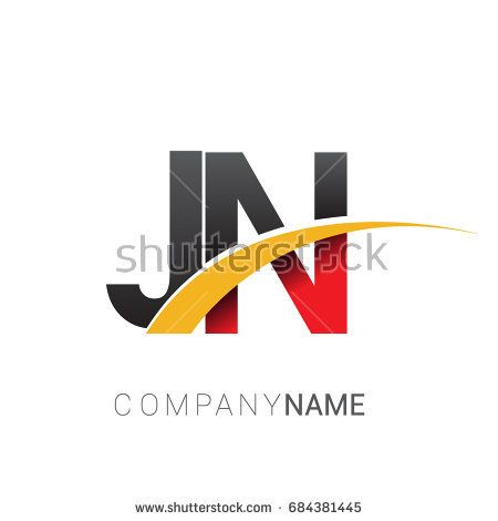 Initial Letter Jn Logotype Company Name Colored Red Black And Yellow Swoosh Design Isolated On White Background Typography Letters Lettering Initial Letters