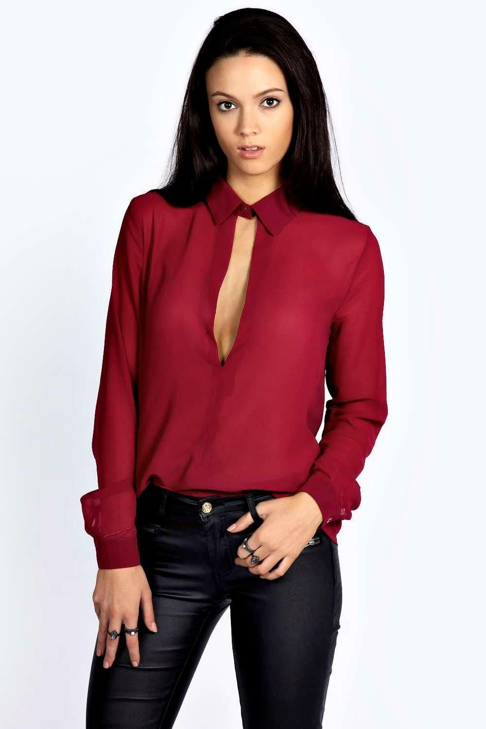 Lace bodysuit boohoo  Rosella Collared Deep Plunge Long Sleeve Blouse  Things to wear