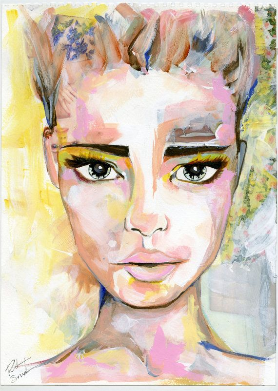 Original mixed media portrait painting colorful by RikkiSneddonArt #Art #Artwork #Artists #mixedmedia #Portrait