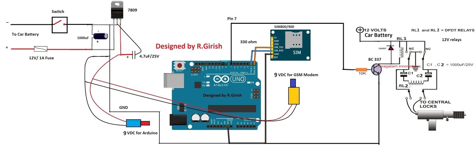 Gsm Car Ignition And Central Lock Using Arduino Homemade Circuit Projects Arduino Circuit Projects Ignition System