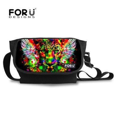 FORUDESIGNS Original Animal Children Messenger Bag for Girl Cute Cat Tiger Head Print Kids Cross Body Bag Women Designer Bolsos