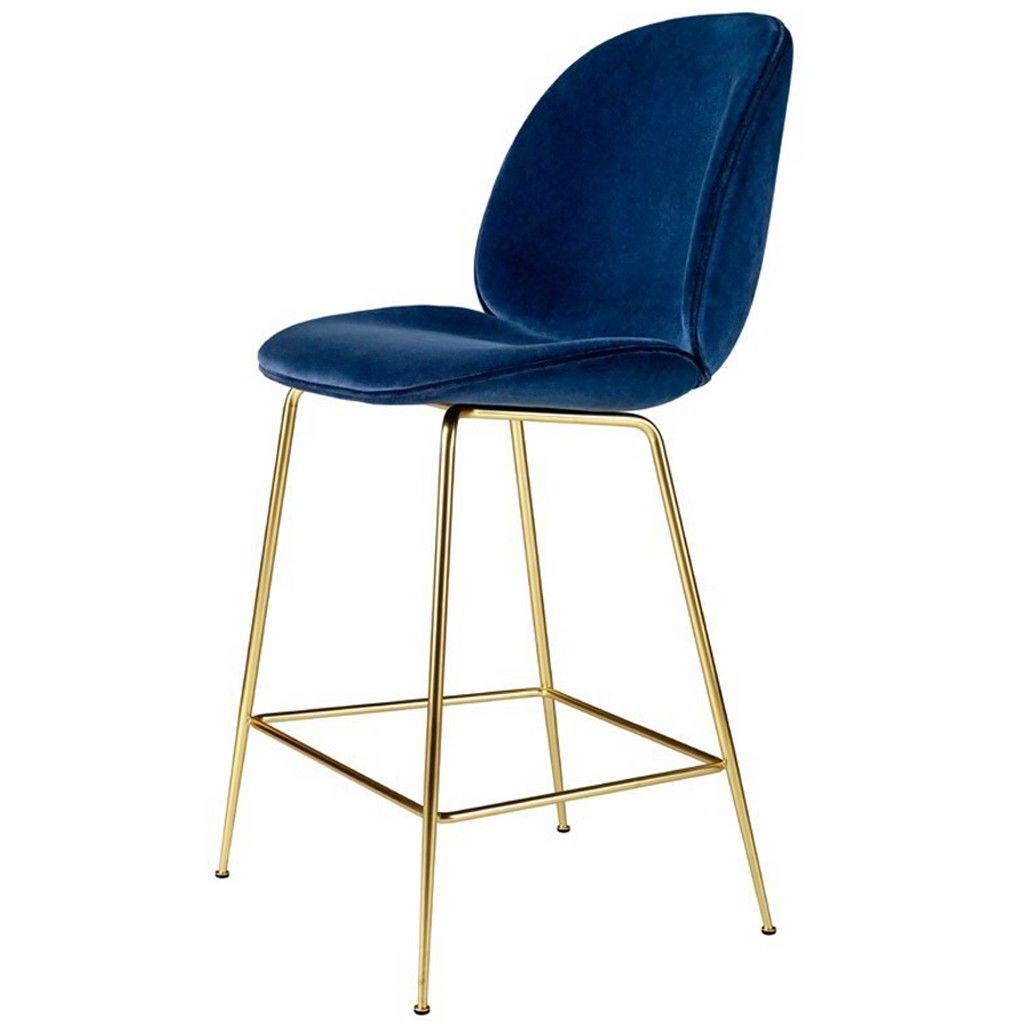 tabouret de bar beetle velours bleu marine pi tement. Black Bedroom Furniture Sets. Home Design Ideas