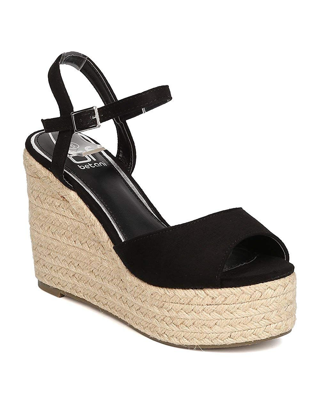 b08d7247cb9 BETANI Women Faux Suede Peep Toe Espadrille Platform Wedge Sandal ...