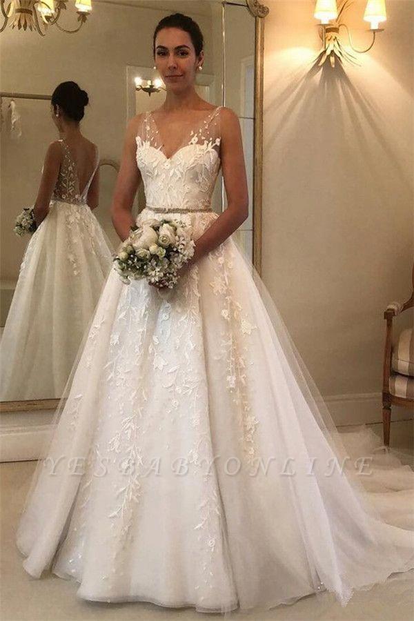 Glamouröse Träger Applique Brautkleider mit Bändern