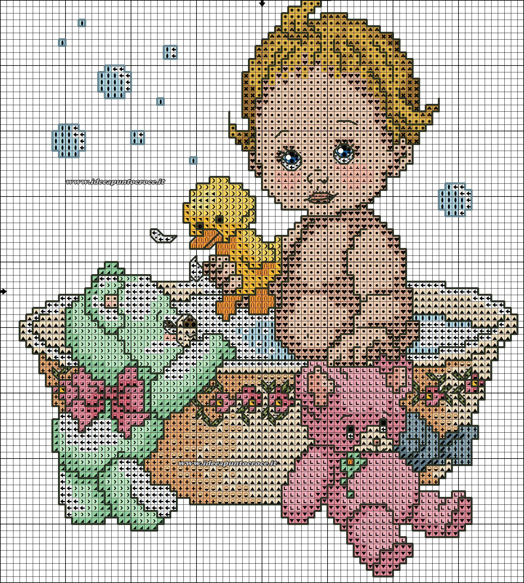 schema bebe 39 bagnetto punto croce baby cross stitch