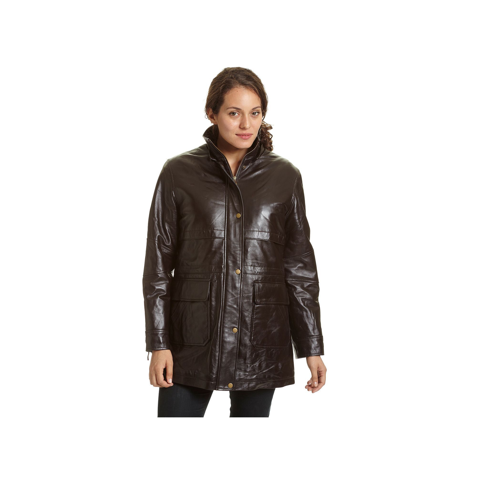 Women's Excelled Hooded Leather Parka, Size: XL, Brown | Products ...