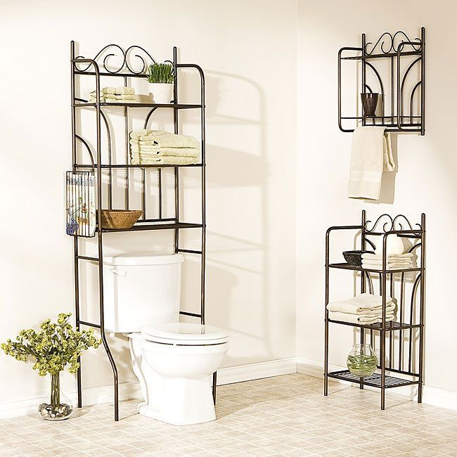 Over Toilet Bathroom Storage Space Saver Shelves Towel Rack Wall Mount Metal New ด ไซน