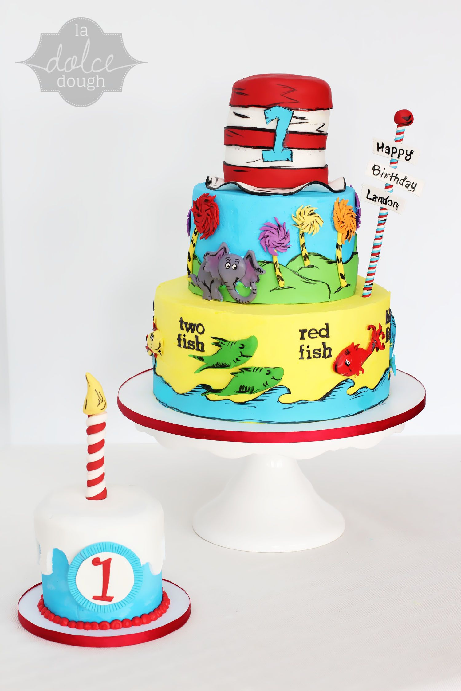 Swell Dr Seuss 1St Birthday Cake And Smash Cake La Dolce Dough Funny Birthday Cards Online Alyptdamsfinfo