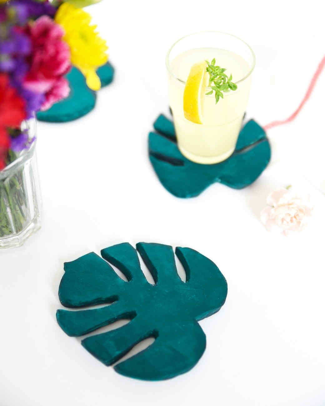 Tropical Monstera Leaf Clay Coasters Diy Bloggers Diy Coasters