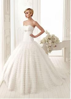 Gorgeous Tulle & Satin Ball Gown Strapless Sweetheart Empire Waist Wedding Gown With Beadings #DRESSILYME