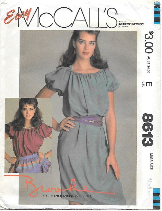1980\'s McCall\'s 8613 Brooke Shields Peasant Dress Sewing Pattern ...