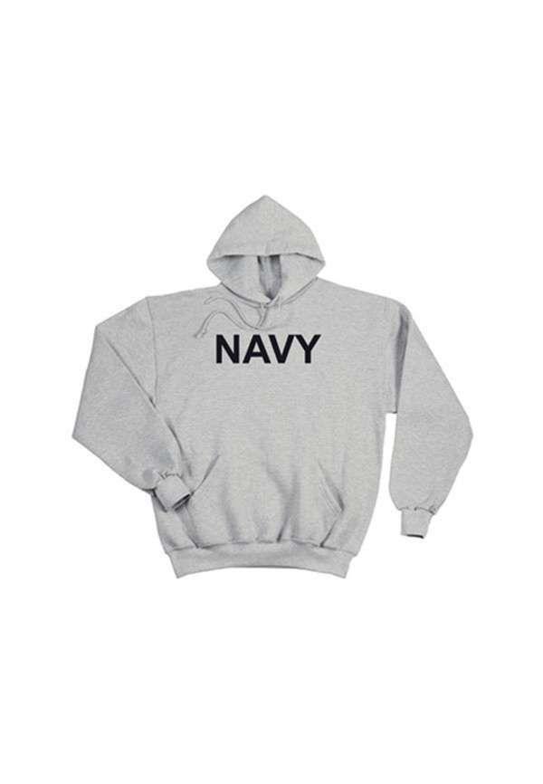 GI Type Navy Grey Hooded Pullover Sweatshirt