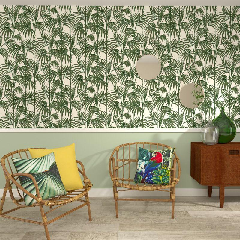 Le motif palmier ultra tendance de ce papier peint intiss - Tendance papier peint chambre ...