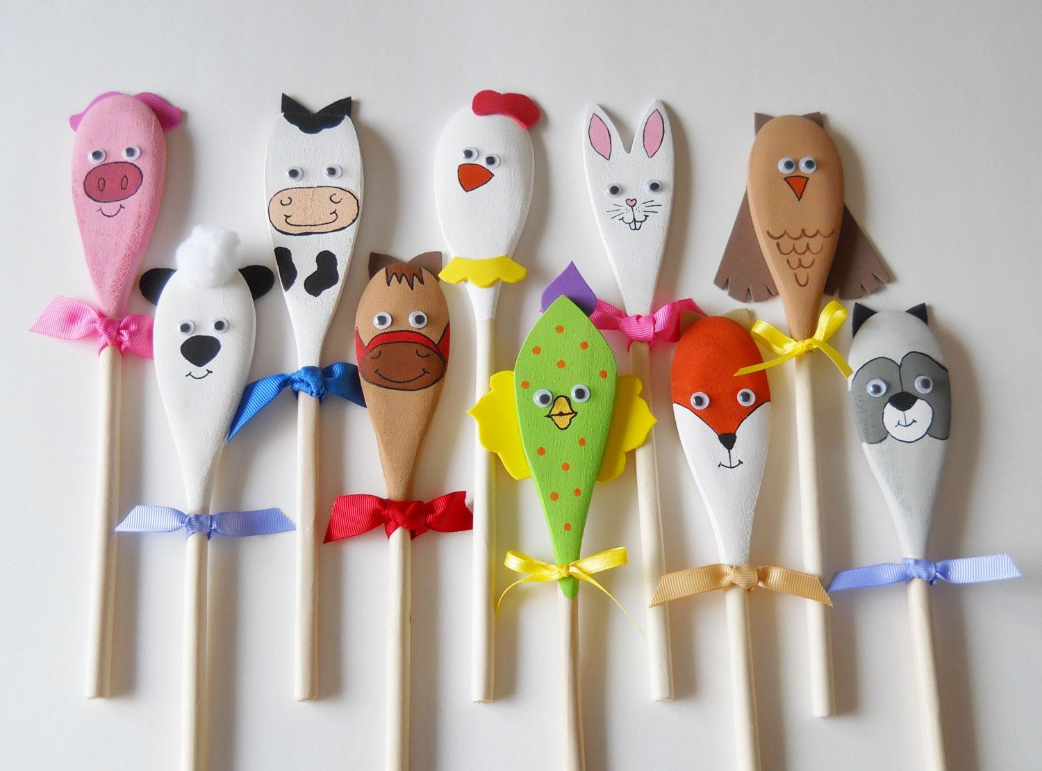 Animal Puppets Wooden Spoon Puppets Waldorf by 2HeartsDesire