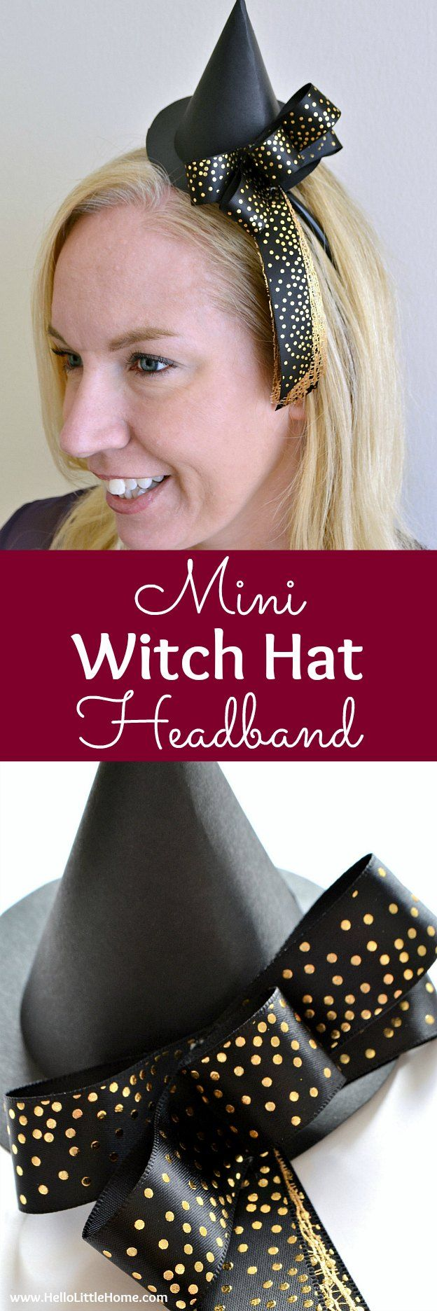 66b0089f355 DIY Mini Witch Hat Headband ... a fun craft that s perfect to wear for an  easy Halloween costume! Learn how to make this easy DIY paper witch hat  using a ...