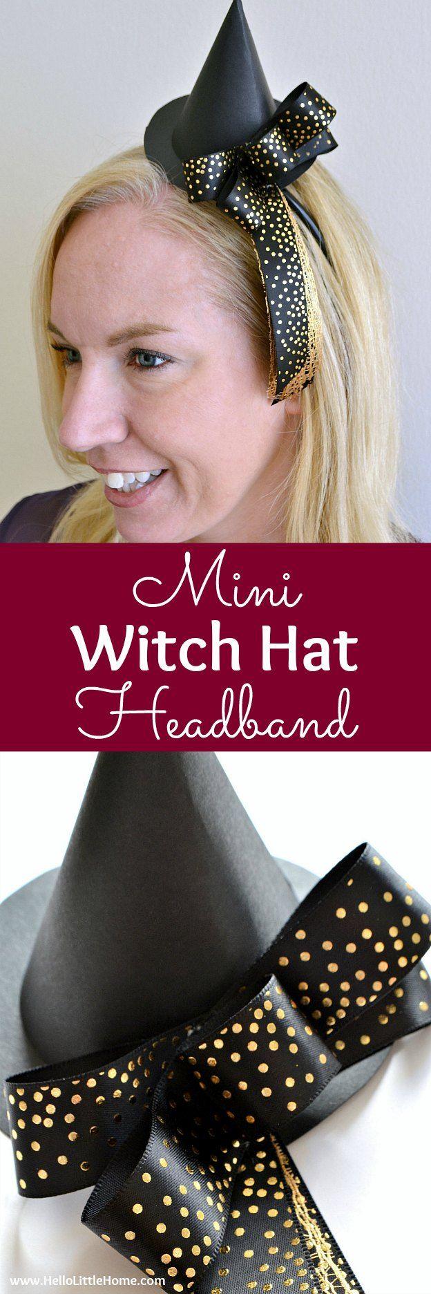 DIY Witch Hat Headband Headbands, Diy hat, Diy for kids