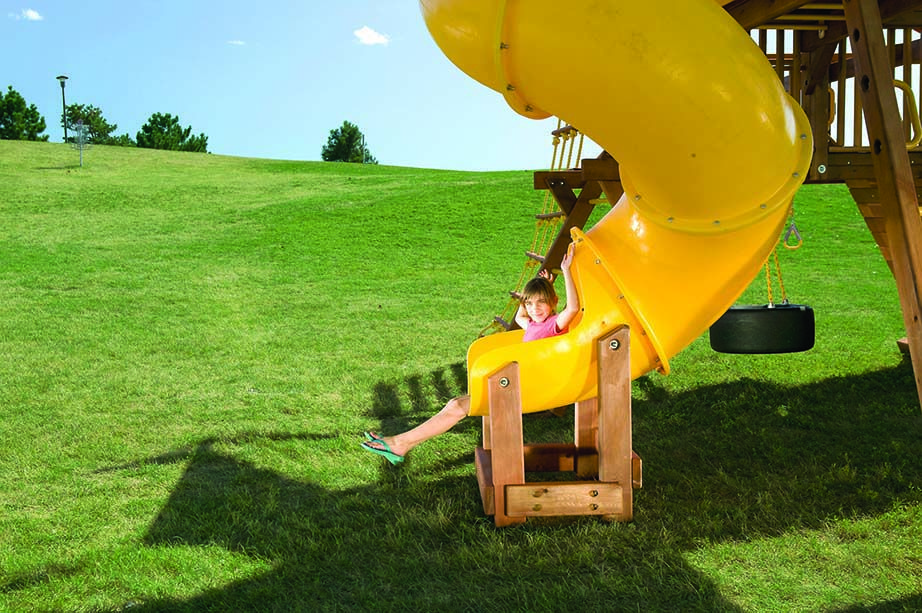 Unlevel Back Yards - Swing Set Installation | Rainbow Play ... on Unlevel Backyard Ideas id=93940