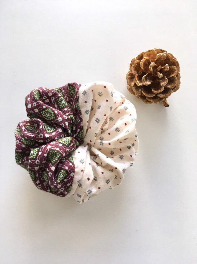 Flower print hair scrunchie,Hair Accessory,Hair tie,One of a kind,Ponytail holder,Bun wrap,White and purple,Fancy,Spring Gift