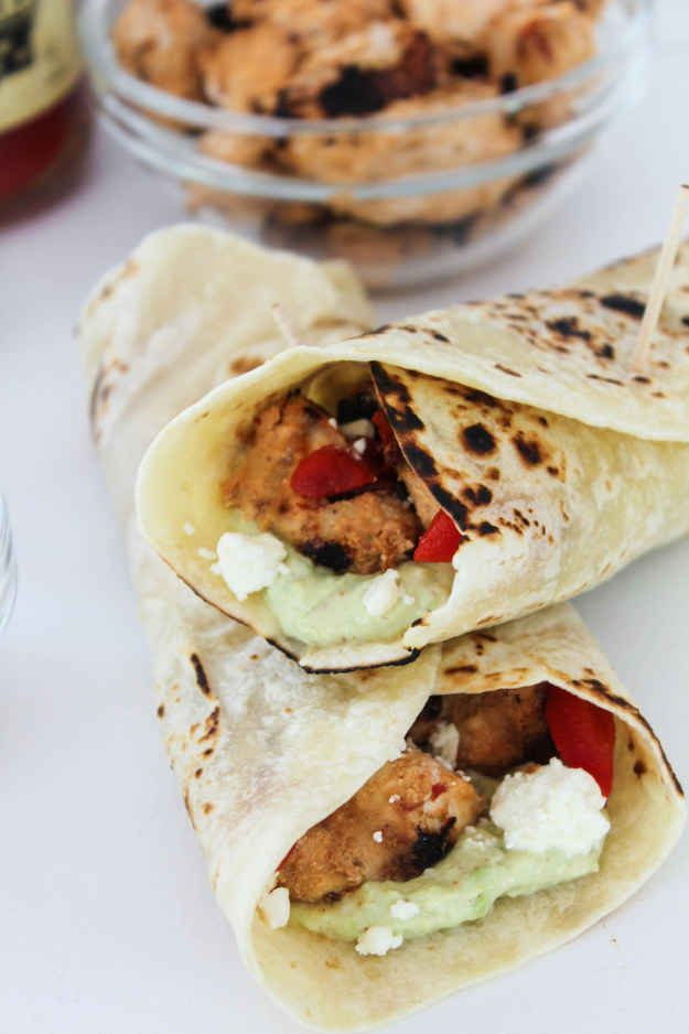 Harissa Chicken Wraps with Roasted Peppers, Feta, and Avocado Aioli