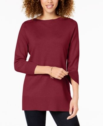 26af655ebe Karen Scott Side-Ribbed Boat-Neck Sweater