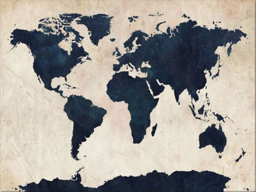 World Map Canvas Distressed Nay On Beige World Map