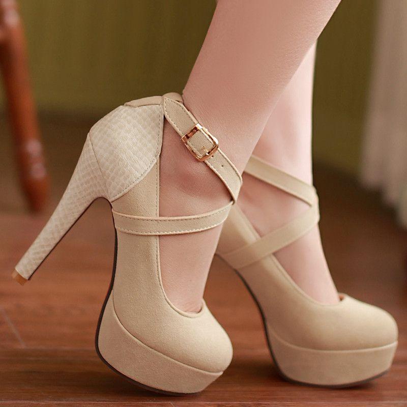 f4ef2198e5 Chegada nova plataforma moda bombas sexy sapatos de salto alto cinta saltos  finos tornozelo sapatos de casamento sapatos bege preto(China (Mainland))