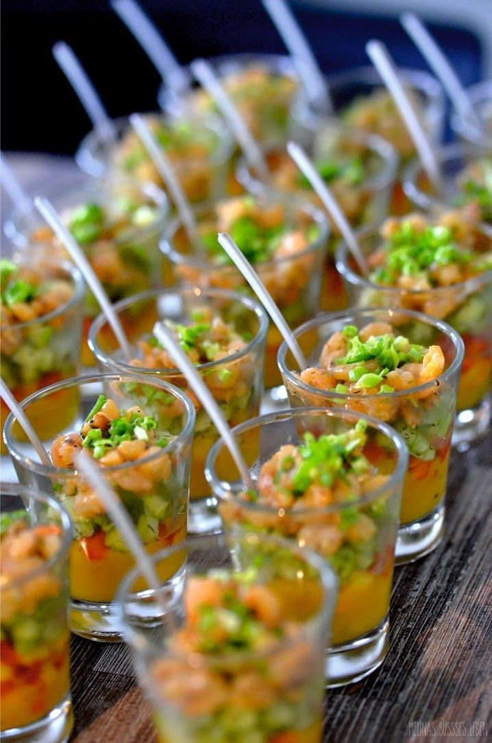 Photo of Melina's sweet life: cucumber and mango cocktail with shrimp finger food in a …