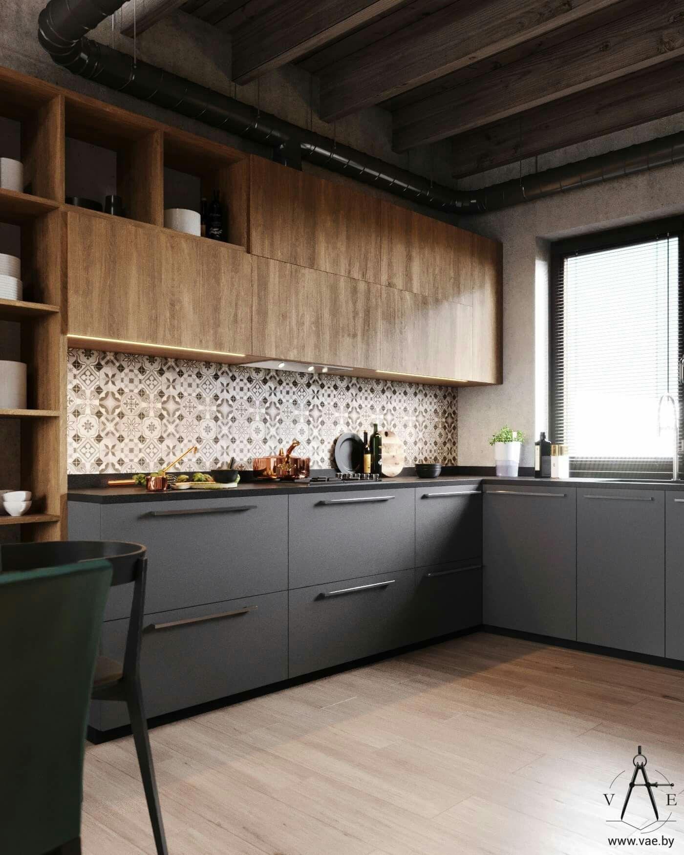 Diseño mueble cocina con madera y color gris combinados. | Ideas ...