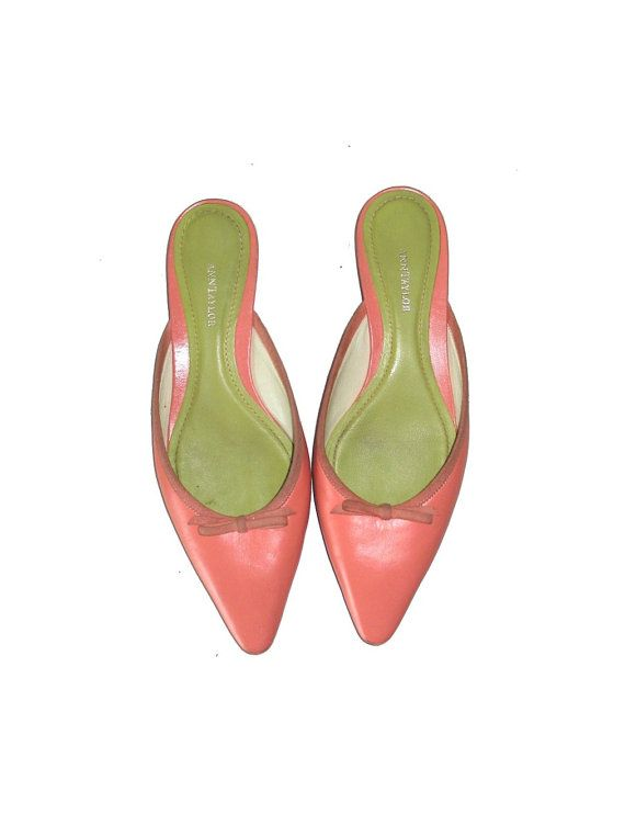 Ann Taylor Peach & Green genuine Leather  by AmyVintagetreasures, $34.99