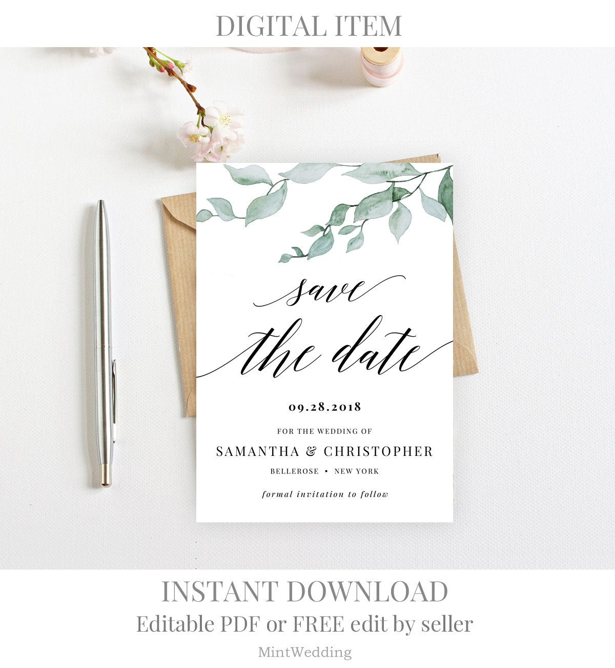Greenery Save The Date Card Invitation Printable Template Eucalyptus Modern Calligraphy Edit Save The Date Invitations Wedding Invitations Save The Date Cards