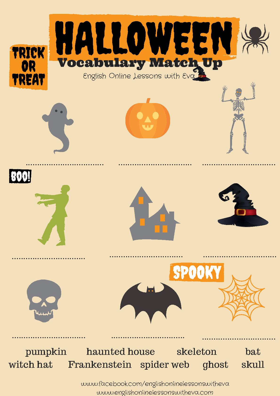 Halloween Vocabulary Match Up