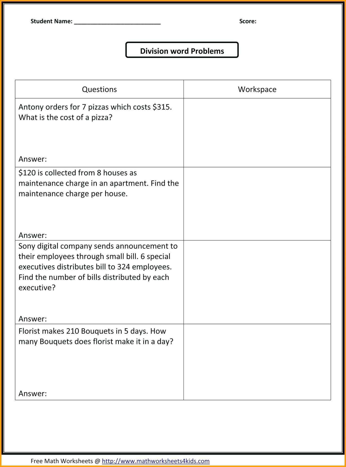10 5th Grade Common Core Math Word Problems Worksheets In