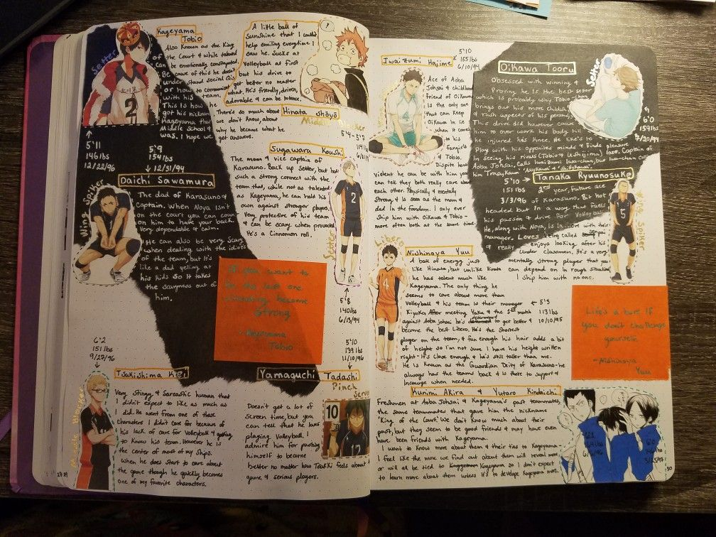 Haikyu Season 1 Characters Anime Book Bullet Journal Art Bullet Journal Ideas Pages