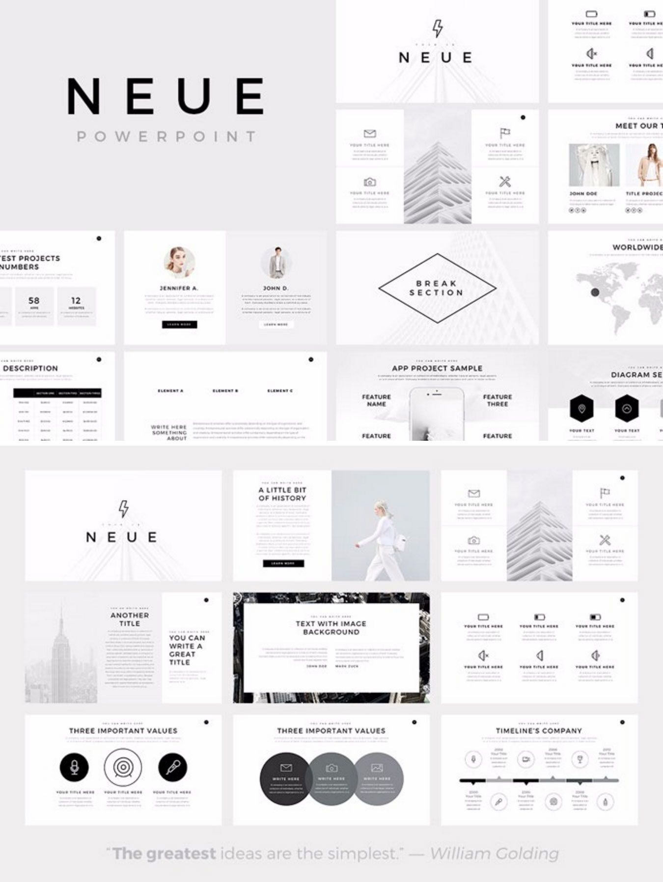 neue – minimalist powerpoint template | ☆~keynotes~☆ | pinterest, Presentation templates