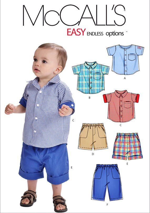 dc953ca3b12d Toddler Boy Pants and Button Shirt Pattern, Baby Boy Shorts and Shirt  Pattern, Little