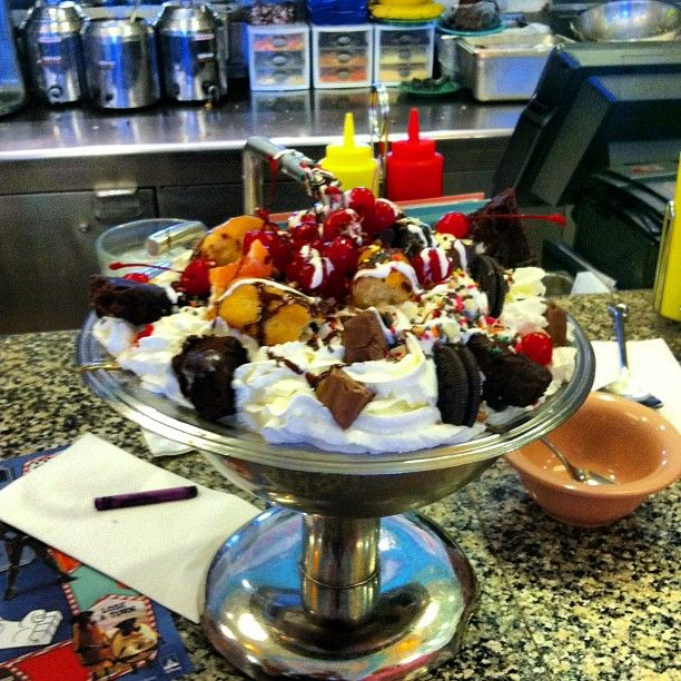 The Kitchen Sink Dessert At Beaches And Cream Has 8 Scoops Of Ice Cream Loads Of Toppings And An Entire Can Of Disney World Food Disney Food Disney Dining