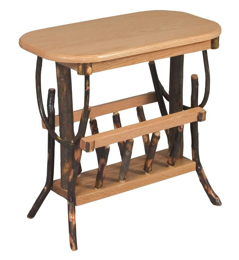Superb Amish Oval Hickory End Table With Magazine Rack