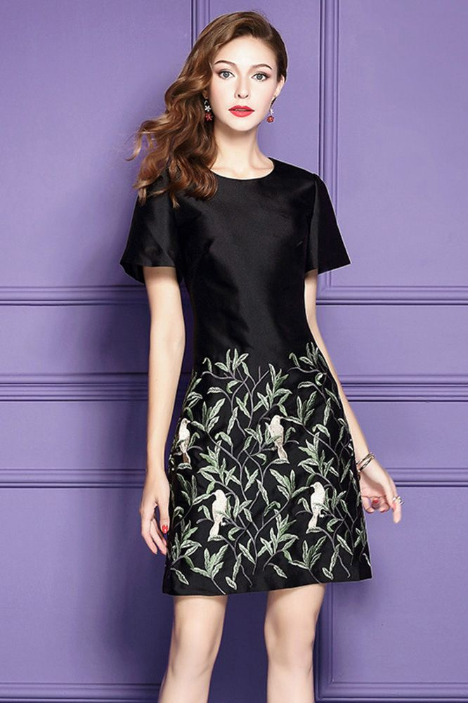 Black A Line Embroidered Short Dress For Wedding Guest With Short ...