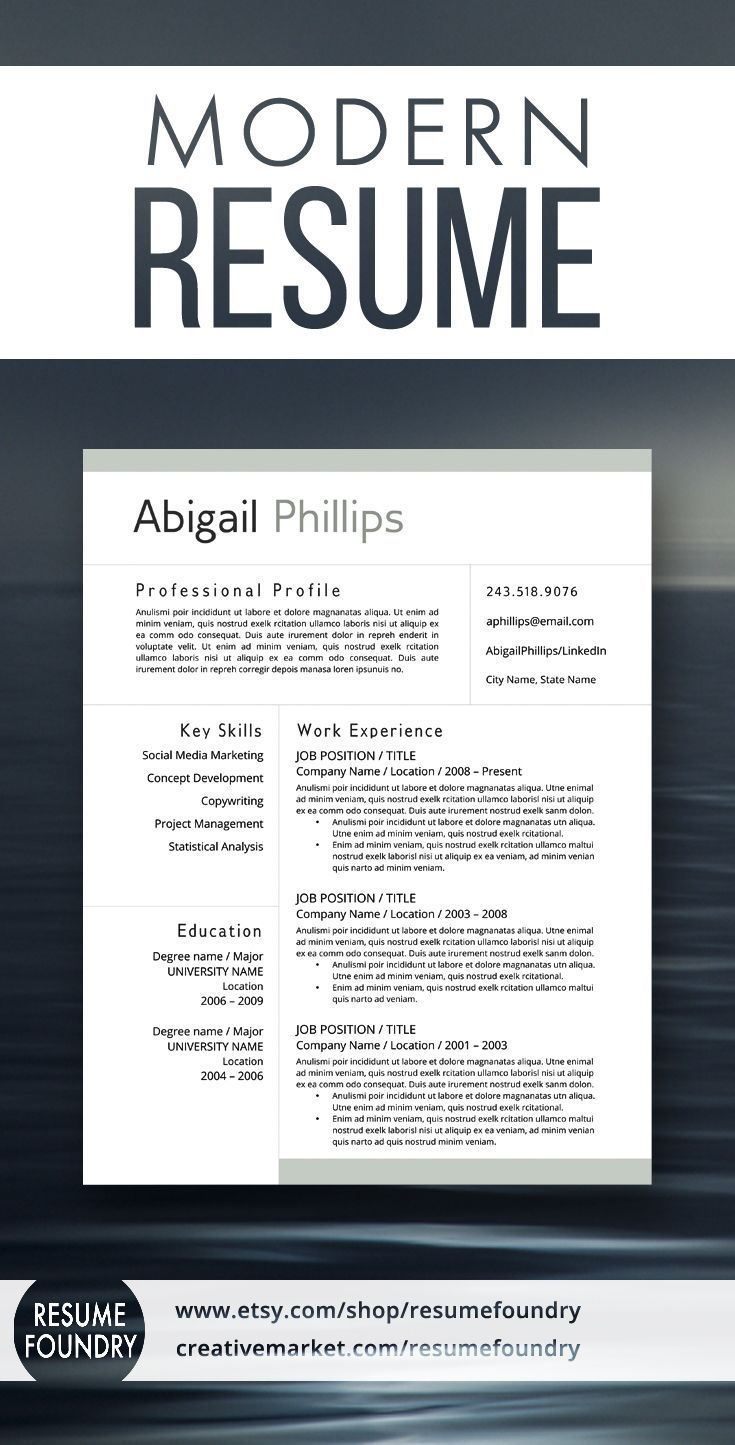 modern resume template for use with microsoft word - Ms Word Resume