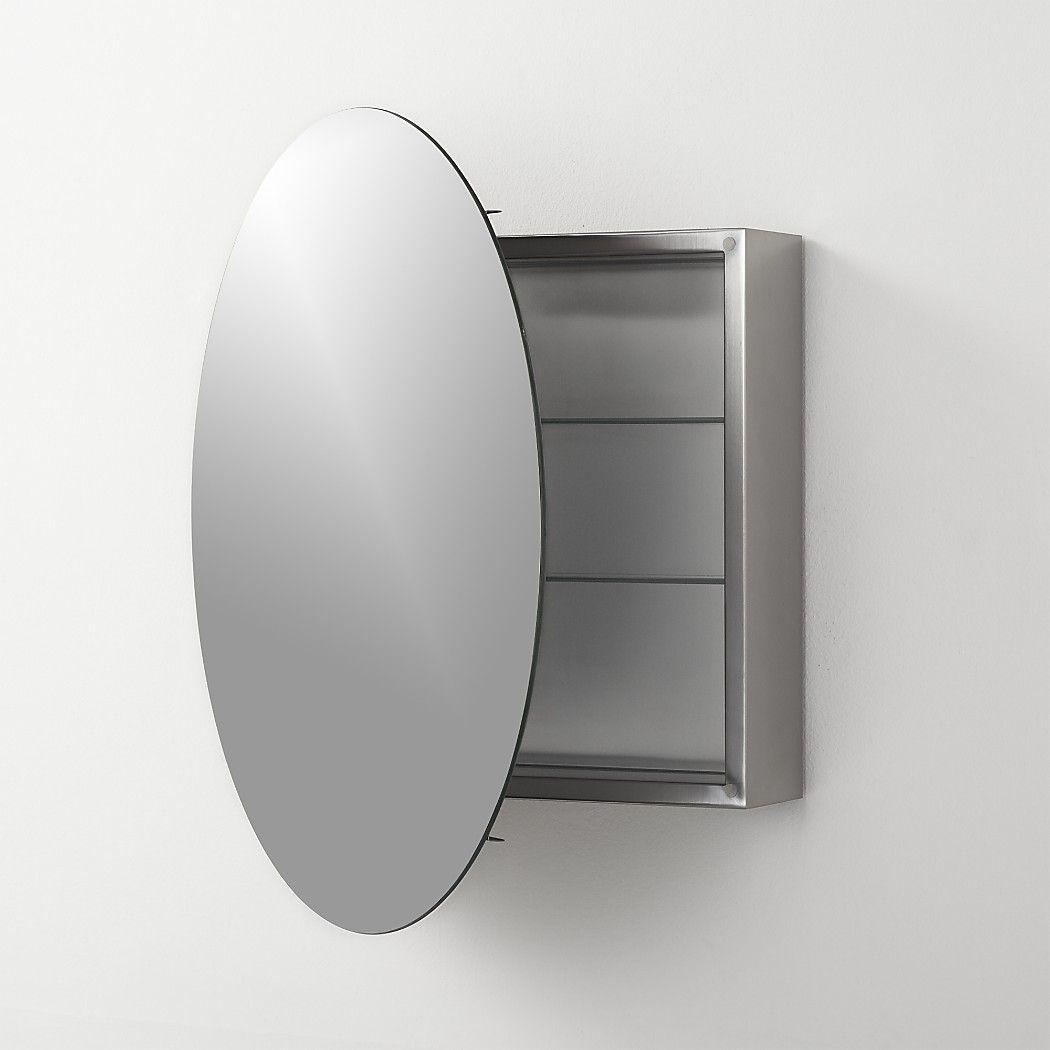 Shop Greta Round Bath Cabinet Behind This Sleek Round Mirror Lies