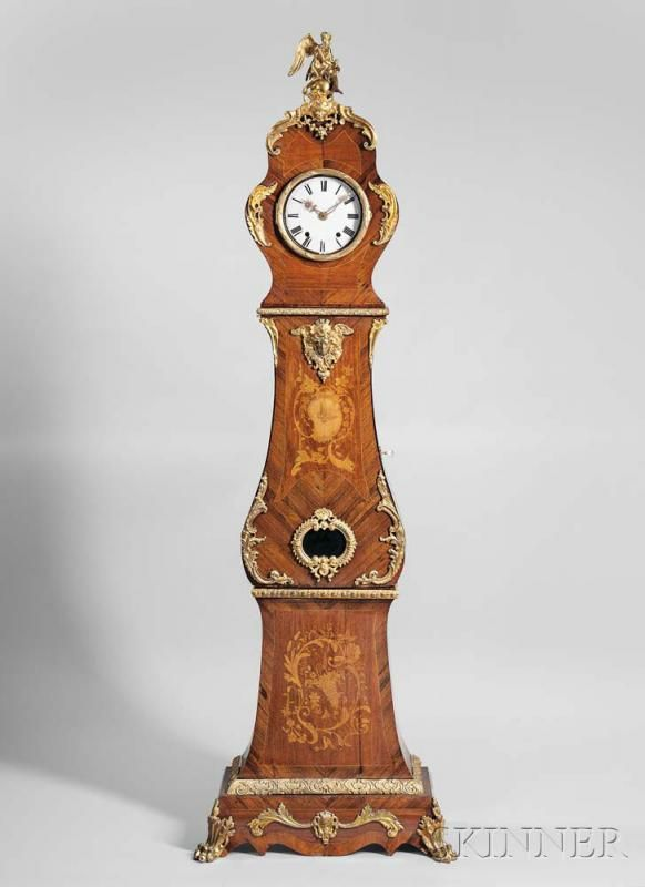 Louis XV-style Bronze-mounted Marquetry Tall Case Clock, early 20th century, gilded angel over a figural head mask crest, bon