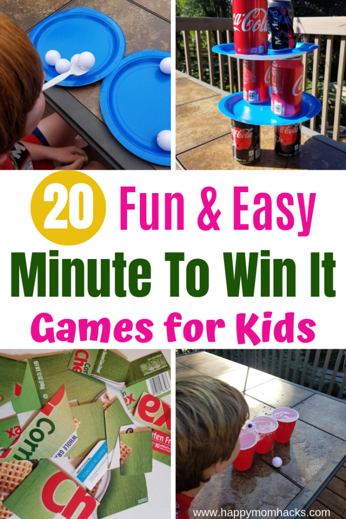 20 Easy Minute to Win It Games for Kids | Happy Mom Hacks