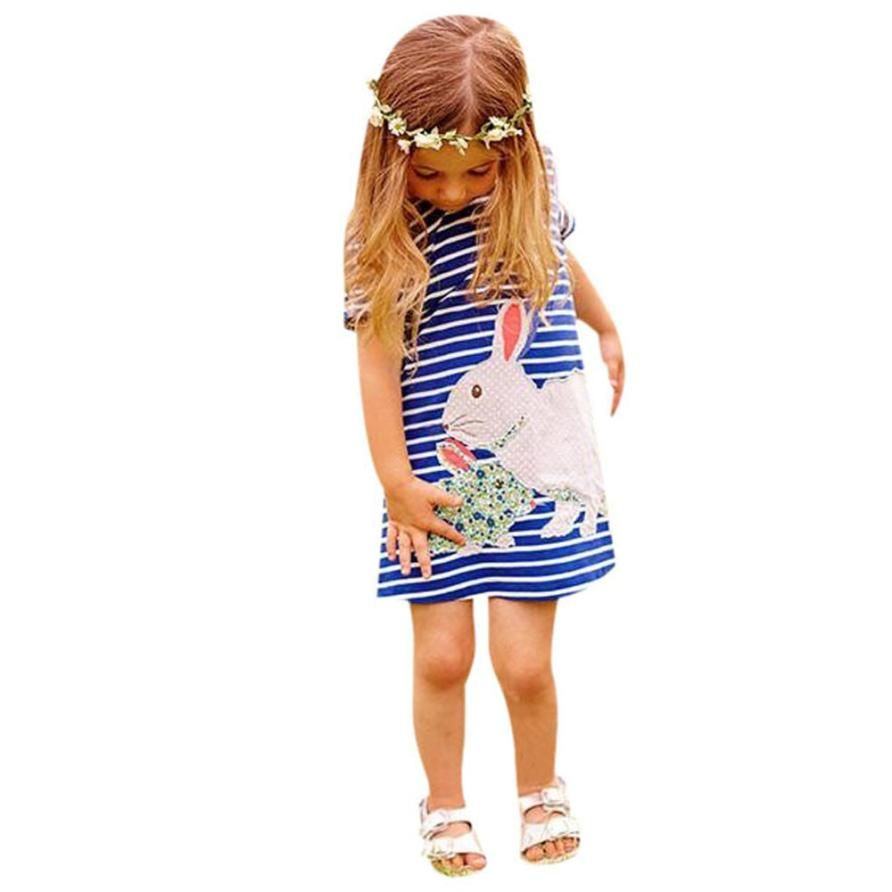 $5.70 (Buy here: http://appdeal.ru/5tft ) Summer Casual Kids Little Girls Cute Cartoon Rabbit Pattern Short Sleeves Dress Children Clothes Amazing May 5 for just $5.70