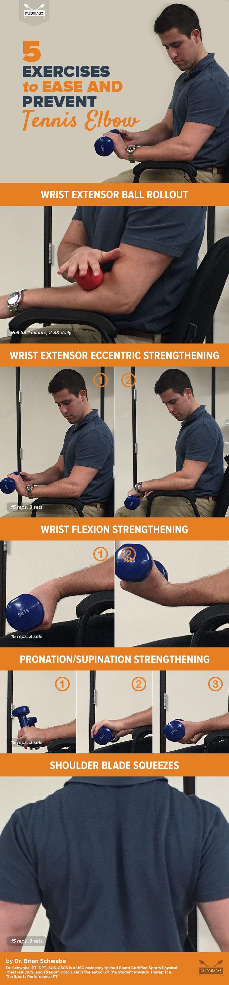 5 Exercises To Treat Tennis Elbow Tennis Elbow Tennis Elbow Exercises Elbow Exercises