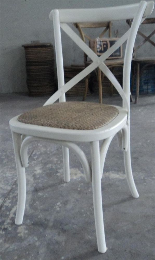 New Noosa Oak White French Bistro Style Timber Cross Back Dining Chair Seat