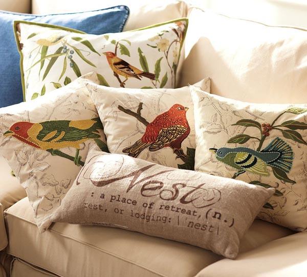 Home And Garden Pottery Barn S Beautiful Spring Collection Of Pillow Covers Pottery Barn Pillows Bird Pillow Pillows