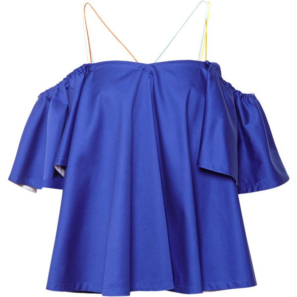 ea2226d440b685 Anna October Frill Shoulder Top (£285) ❤ liked on Polyvore featuring tops,  strappy top, blue off the shoulder top, blue top, frilly tops and blue  ruffle ...