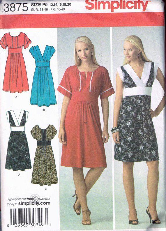 Size 12-20 Misses\' Plus Size Dress Sewing Pattern - V Neck ...