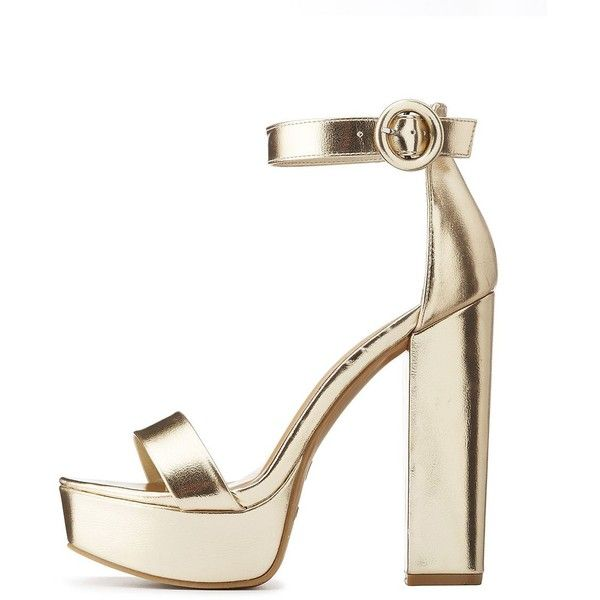 97dcf328b2f Bamboo Metallic Two-Piece Platform Sandals ( 27) ❤ liked on Polyvore  featuring shoes