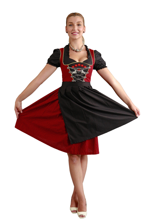 Midi Dirndl schwarz-rot mit der rot-silberner Stickerei und Metallkette